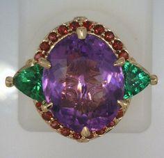 Amethyst, Tsavorite Garnet & Blazing Red Topaz rose gold ring