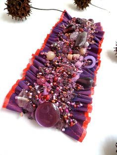 Purple dream III, unique wearable fiber art cuff. $59.00, via Etsy.