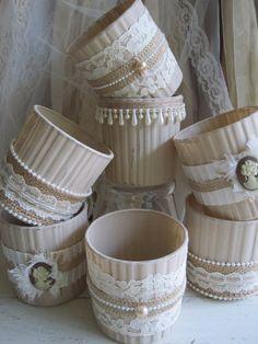 Votive Vases Glass Upcycled Shabby Chic by AngelasAntics on Etsy