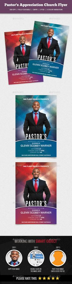 Pastor's Appreciation Church Flyer — Photoshop PSD #christian #men of god • Available here → https://graphicriver.net/item/pastors-appreciation-church-flyer/16652037?ref=pxcr