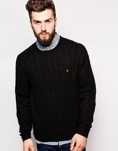 Farah Vintage Jumper with Cable Knit in Regular Fit