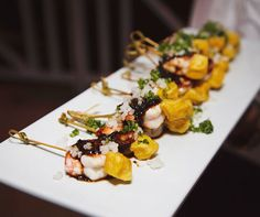 Jean-Georges prepared tray-passed appetizers of fresh grilled shrimp with local pineapple and mouthwatering herbs.