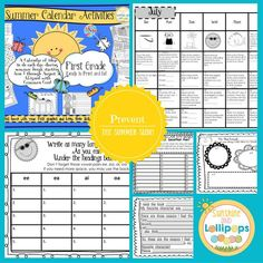 $5.00 130 pages of activities #Summer Calendar Activities for First Grade A Calendar of ideas to do each day during summer break starting June 1 through August 31  Aligned with Common Core! Send this home with your first graders and keep their skills sharp all summer long!  We all know how we wish our students would work during the summer to keep all the skills and strategies that they learned all year long sharp.