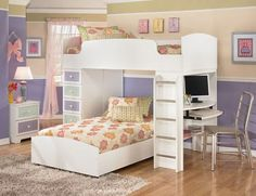 lofts beds for teenagers | Loft Teenage Girl Bedroom Bunk Bed Furniture Design