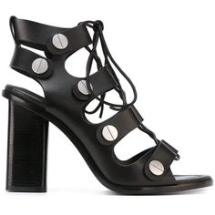 Alexander Wang 'Ilse' sandals (1,339 CAD) ❤ liked on Polyvore featuring shoes, sandals, black, leather sandals, black studded sandals, black sandals, studded sandals and black shoes