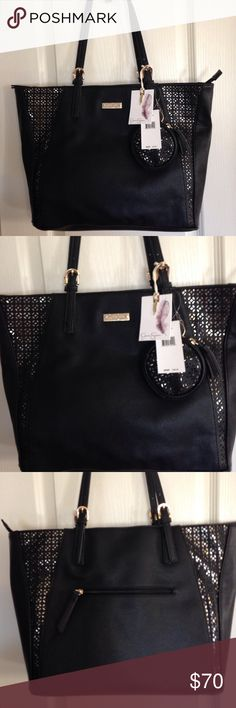 """NEW - Jessica Simpson Black Cut-out Metallic Tote NEW - Jessica Simpson Black Cut-out Metallic Tote. This bag is beautiful with it's laser cut details, this bag actually has three sections inside the main zipper pocket, there are two open sections and in between there is another large zip section. There is also a detachable coin purse. Bag measures 14"""" long, 11 1/2"""" high and 6"""" wide. Plenty of room for everything. This is man-made and gorgeous! Jessica Simpson Bags Totes"""