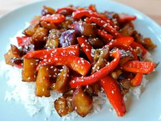 A simple Chinese-inspired recipe: Sweet and Sour Eggplant with red peppers. Vegan, healthy, gluten free, dairy free, kosher, pareve.
