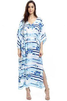 73563791c Kaftan 101 Resort Wear Vestido Quimono Crepe Listrado Azul Branco