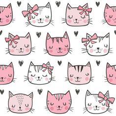 Cat Fabric, Grey Fabric, Wallpaper Gatos, Pink Cat, Cat Drawing, Pretty Cats, Cat Face, Custom Fabric, Spoonflower