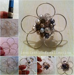 A 5 petals flower with clustered beads tutorial - fun afternoon project and super easy