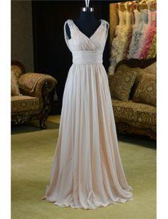 Vestido de novia griego de gasa con escote en V. De la temporada 2014