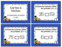 Voici un ensemble de 27 cartes à tâches sur la comparaison des nombres de 0 à 100. Math Term, Math Blocks, Teachers Corner, 2nd Grade Math, Grade 2, Primary Maths, Number Sense, Math Resources, Math Games