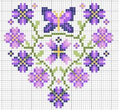 Cross-stitch Purple butterfly flower heart... no color chart available, just use pattern chart as your color guide.. or choose your own colors...