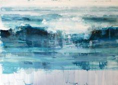 "Alex Kanevsky  Waves  June 12, Rough Weather  oil om Mylar mounted on wood,   21"" x 29"""