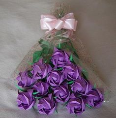 Origami+Paper+Roses+Bouquet++Purple+Gift+Crafts