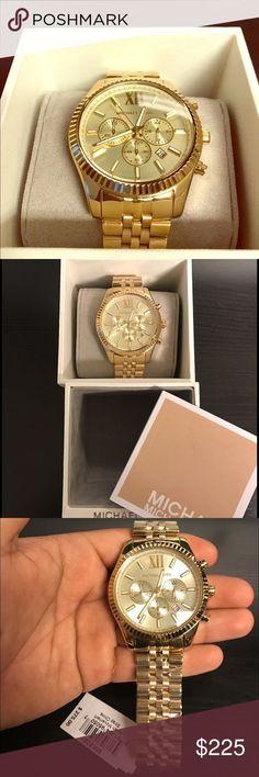 a599f7817f51b MICHAEL KORS MENS GOLD WATCH Michael Kors Lexington Gold Stainless 45mm  Chronograph Mens Timepiece w