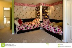 Pink and Lime Green Bedroom | Fun bedroom with lime green wall, pink and white wallpaper, polka dot ...