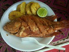Pescado Frito En El Lago De Yojoa Fried Fish With Plantain Cabage Salad Lago De Yojoa