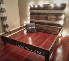 "330 Likes, 16 Comments - Timber + Gray Design Co. (@timberandgray) on Instagram: ""Mod King Bed with reclaimed wood style headboard / part of a custom 3 peice set ... {slats +…"""