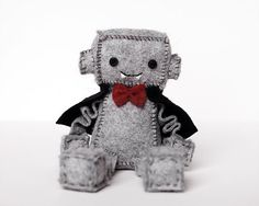 Vampire Plush Robot with Red Bow Tie and Black Cape by GinnyPenny
