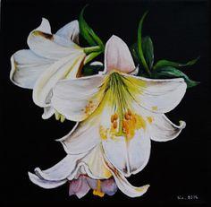 """Aquarell - Acryl-Bild - """"Weiße-Lilien"""" auf Leinwand, 20x20 cm - ein Designerstück von Aranka-1 bei DaWanda"""