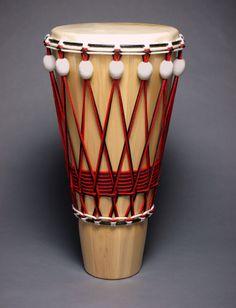 "Ashiko hand drum with ceramic tuners by JJ Savage, 28"" x 14"""