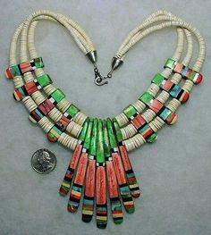 SANTO-DOMINGO-Delbert-Crespin-Necklace-Turquoise-Jet-Coral-Spiny-Oyster-A41