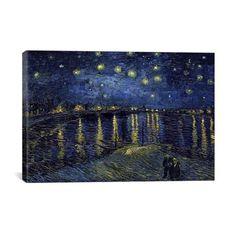"Starry Night over the Rhone // Vincent van Gogh // 1888 (26""W x 18""H x .75""D)"