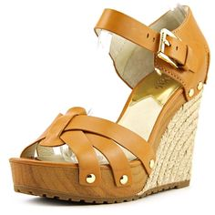 97dc33eca Michael Michael Kors Somerly Wedge Women Open Toe Leather Wedge Sandal  Platform Wedge Sandals