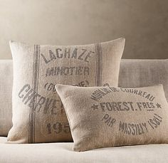 """Restoration Hardware Pillows.  Can make these with the tutorial on """"diy projects""""!!!!"""