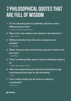 These philosophical quotes will give you ideas about the philosophy of life. Wisdom of all time!