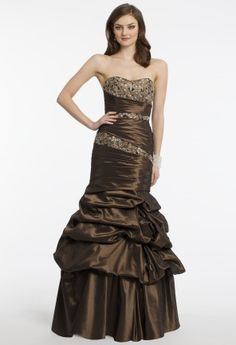 Taffeta asymetrical pleated dress with beaded lace inserts by Camille La Vie.•Strapless sweetheart neckline•Ruched beaded bodice•Empire waist•Tiered trumpet skirt•Open back with center zipper