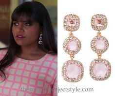"""Mindy wore these pink crystal drop earrings with her pink check top and neon pink skirt in """"Diary of a Mad Indian Woman"""" /// Kate Spade Basket Pave Linear Earrings"""