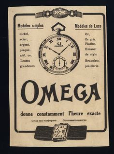 Original Vintage 1924 OMEGA WATCH Advert 4 3/8'x6' by PHILALETTRE