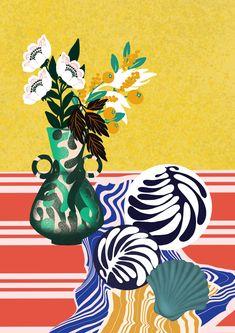 Illustration Nature morte, fleur pot de fleurs, céramique Movie Posters, Illustration, Playing Cards, Art, Poster