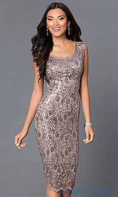 Knee Length Sequin and Lace Dress 6953 at SimplyDresses.com