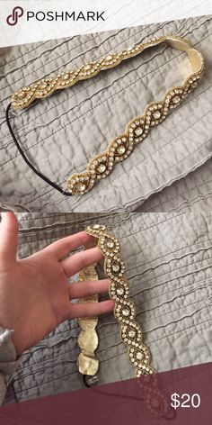 Krown Beaded Headband Hand beaded gold & Swarovski crystal head band. Beautiful! Perfect if you're looking for a glam hair accessory for a special occasion. Never worn. shop krown Accessories Hair Accessories