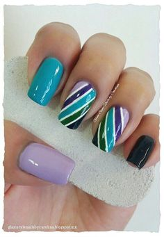 "GREEN & PURPLE STRIPES Day 12 for #31DC2013 **FOR DETAILS FOLLOW MY BLOG OR DO ""LIKE"" TO MY FACEBOOK, would be great!! All comments are welcome!!! https://www.facebook.com/glamstylenailsbycarolina **"