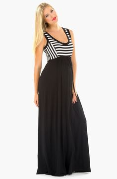Olian maternity striped maxi dress