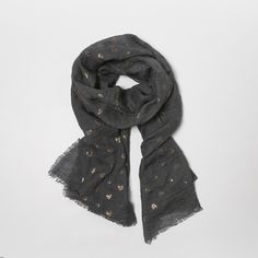 Grey Scarf with Gold Hearts (£14) ❤ liked on Polyvore featuring accessories, scarves, grey shawl, gold scarves, print scarves, gray shawl and patterned scarves
