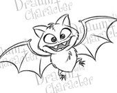 Halloween Bat Digital Stamp/ KopyKake Image Lots of fabulous images, not just Halloween, on this etsy shop - DrawnwithCharacter