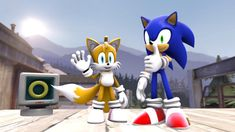 Sonic and Tails are being the best duo and buddies in the world for over 2 decades and months. Eggman from evil. Game Sonic, Sonic Art, Birthday Songs, Cat Birthday, Sonic The Hedgehog, Sonic Unleashed, Best Duos, Blue Streaks, Happy B Day