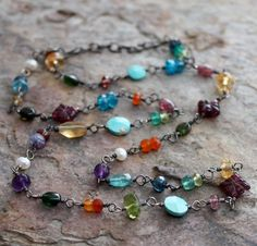 multi gemstone. long. - good use for all of my single beads that are left over from other pieces.