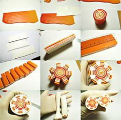 Sun cane - Skinner blend spiral plug for the center, stacked striped cane slices for the rays