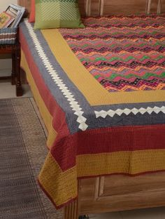 Multi-Color Gudri Work Cotton Double Bed Cover x Double Bed Covers, Linen Bedding, Bed Linens, Luxury Bedding, Bed Sheets, Beautiful Homes, Blanket, Cotton, Furniture