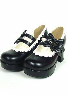 Black  High heels Platform PU Womens Lolita Shoes