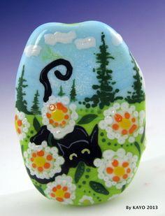 """""""DUKE OF THE DAFFODILS"""" ByKAYO a Handmade CAT Lampwork Art Glass Focal Bead SRA <3<3<3CUTE<3<3<3"""