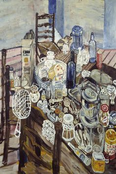 John Bratby, Still Life with Chip Frier. The still lifes of this London artist were dubbed part of the 'Kitchen Sink School' by art critic David Sylvester in 1954. He was in a group of artist who deliberately created drab often dismal domestic interiors and still life scenes. Their work struck a chord in it's bleakness with the prvailing mood in post-war Britain.