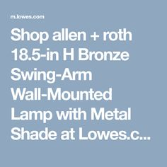Shop Allen Roth 185 In H Bronze Swing Arm Wall Mounted Lamp