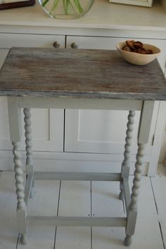 annie sloan, paris grey, limed, stripped, barley twist legs, side table, wooden, restored, revamped, upcycled, preloved reloved, repainted, ...
